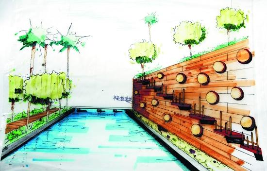 俞晨等手绘的设计图纸,从平面上看,像一棵正在生长的树,枝繁叶茂.